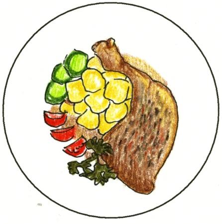Výsledek obrázku pro pečené kuře kreslené